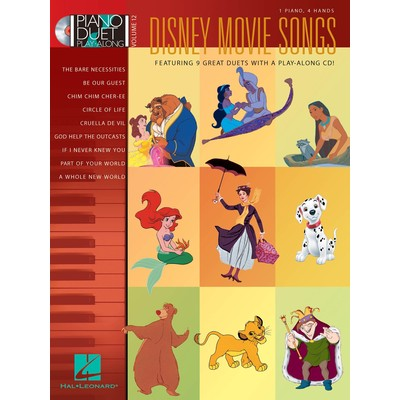 Music Piano Duet Play Along 12 - Disney Movie Songs