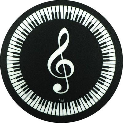Coaster Aim Vinyl G-Clef Keyboard Round - Aim - 29841