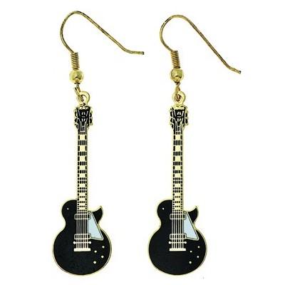 Single-Cut Electric Guitar Earings - Black - Aim - E1