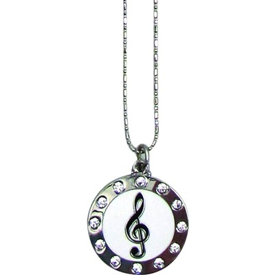 "Necklace Aim G-Clef Rhinestones Circle 22"" Chain - Aim - N440"