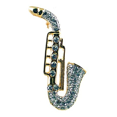 Brooch Aim Rhinestone Gold Sax w/Clear Stones - Aim - RB27