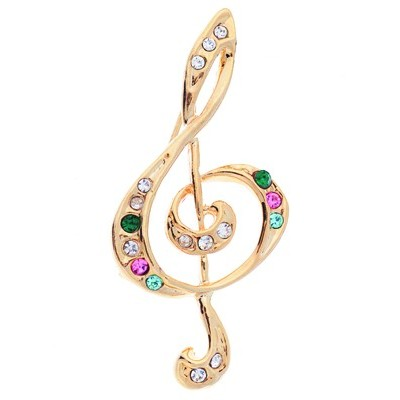 Brooch Aim Rhinestone G-Clef Multi - Aim - RB38