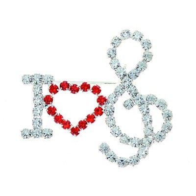 Brooch Aim Rhinestone I Heart G-Clef - Aim - RB55