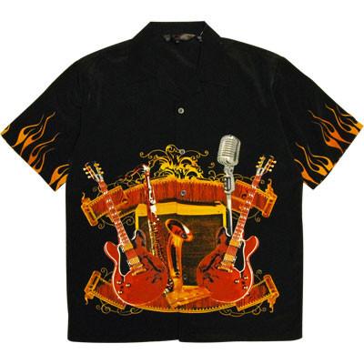 Rockabily Flame Shirt - Black - XL - Aim - 37205XL