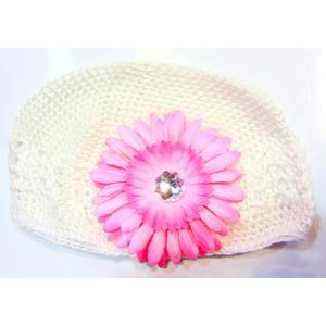 Girls Flower Hat - White/Soft Pink