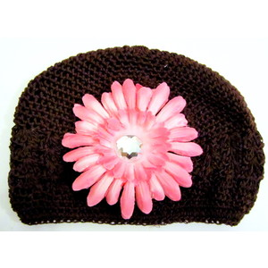Girls Flower Hat - Brown/Soft Pink