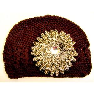 Girls Flower Hat - Brown/Leopard