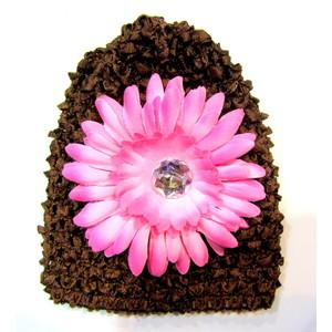 Infant Flower Hat - Brown/Soft Pink