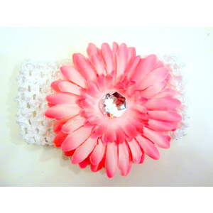 Flower Headband - White/Soft Pink