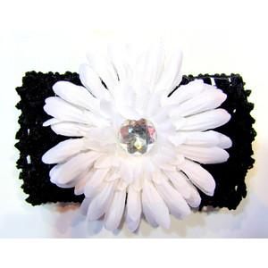 Flower Headband - Black/White