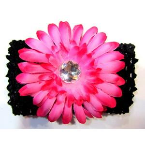 Flower Headband - Black/Hot Pink
