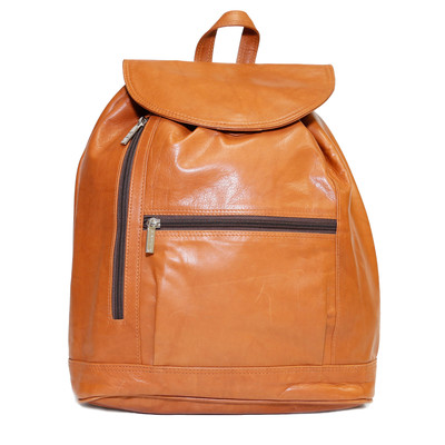 Leather Backpack with Zippered Compartments