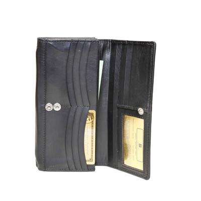 Ladies Clutch Wallet with Chequebook Section, Black