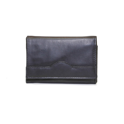 "Ladies 6"" Leather Wallet, Black"