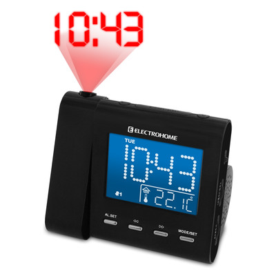 Electrohome EAAC600 AM/FM Projection Clock Radio with Dual Alarm, Auto Time Set/Restore, Temperature Display, and Battery Backup (871363021205)