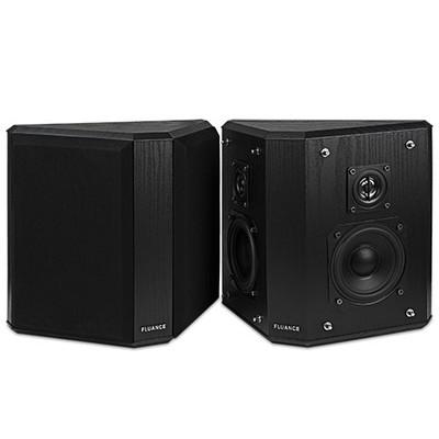 Fluance AVBP2 Wood Bipolar Surround Sound Satellite Speakers Black Ash Finish (871363002341)