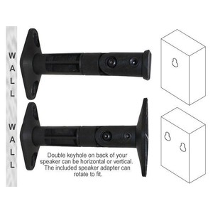 Universal Wall / Ceiling Speaker Mount Brackets for Satellite Speakers (Pair, Black)