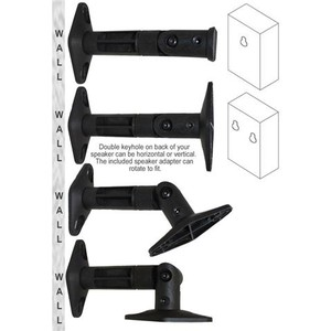 Universal Wall / Ceiling Speaker Mount Brackets for Satellite Speakers (2 Pairs, Black)