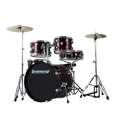 """Accent Drive Drum Kit with Hardware and Cymbals - 10""""/12""""/16""""/22""""/SD - Wine Red - Ludwig - LC1754"""