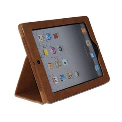 iPad 2/3 PU Leather Case with Stand - Brown Color