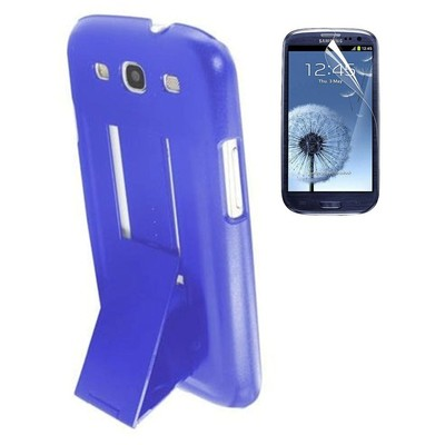 Protective Stand Case & Screen Protector for Samsung S3 - Blue Color
