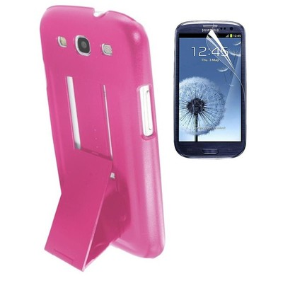 Protective Stand Case & Screen Protector for Samsung S3 - Pink Color