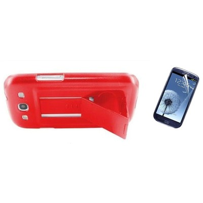 Protective Stand Case & Screen Protector for Samsung S3 - Red Color