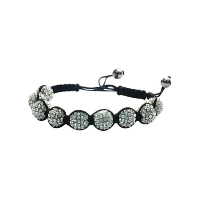 Ladies Black Fibre Cubic Zirconia Ball Bracelet