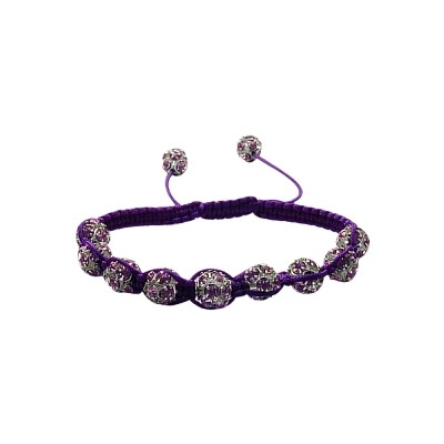 Ladies Purple Fibre Cubic Zirconia Ball Bracelet