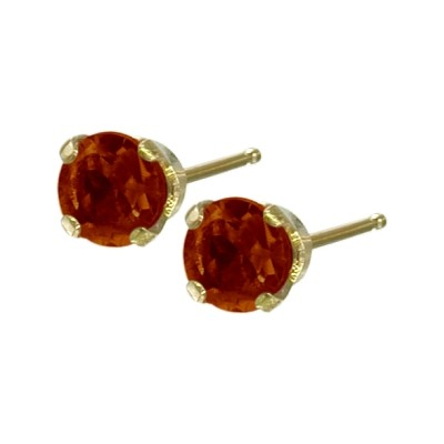 Genuine 3mm 0.25tcw Garnet 14 Karat Yellow Gold Baby Earrings