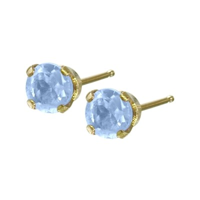 Genuine 0.18tcw 3mm Aquamarine 14 Karat Yellow Gold Baby Earrings