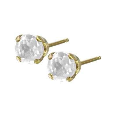 Genuine 0.25tcw 3mm White Topaz 14 Karat Yellow Gold Baby Earrings