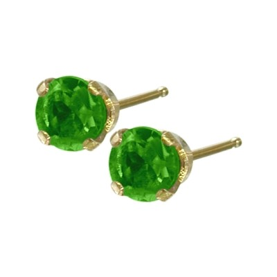 Genuine 0.25tcw 3mm Emerald 14 Karat Yellow Gold Baby Earrings