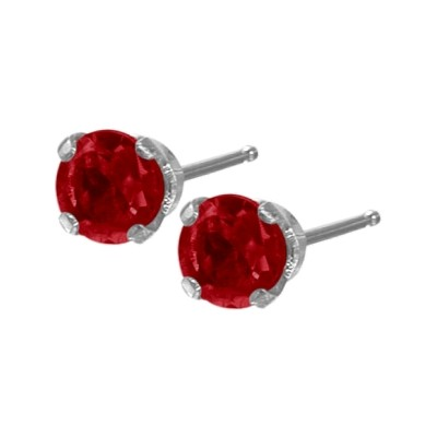 Genuine 0.30tcw 3mm Ruby 14 Karat White Gold Baby Earrings