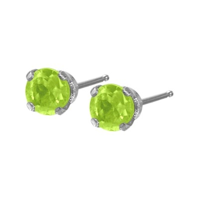Genuine 0.20tcw 3mm Peridot 14 Karat White Gold Baby Earrings