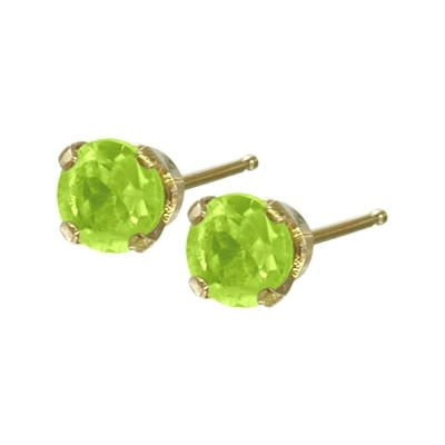Genuine 0.20tcw 3mm Peridot 14 Karat Yellow Gold Baby Earrings