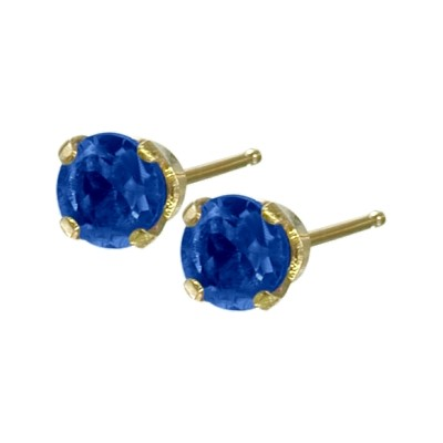 Genuine 0.30tcw 3mm Sapphire 14 Karat Yellow Gold Baby Earrings