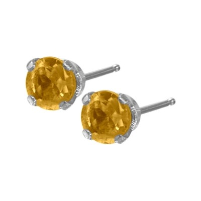 Genuine 0.20tcw 3mm Citrine 14 Karat White Gold Baby Earrings