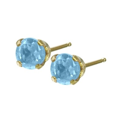 Genuine 0.30tcw 3mm Blue Topaz 14 Karat Yellow Gold Baby Earrings