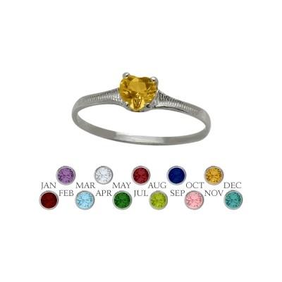 Genuine Sterling Silver Genuine Citrine Heart Shape Gem Baby Ring