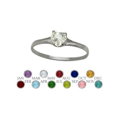 Genuine Sterling Silver Genuine White Topaz Heart Shape Gem Baby Ring