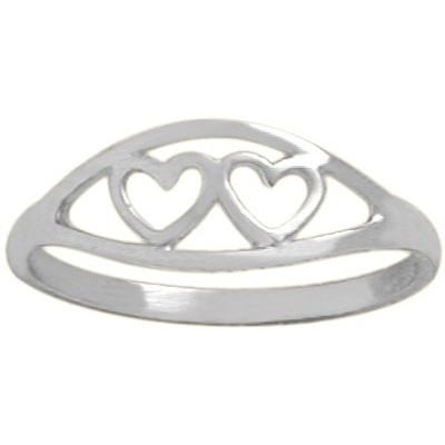 Genuine Sterling Silver Double Heart Baby Ring