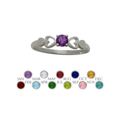 Genuine Sterling Silver Genuine Amethyst  Round Shape Baby Ring