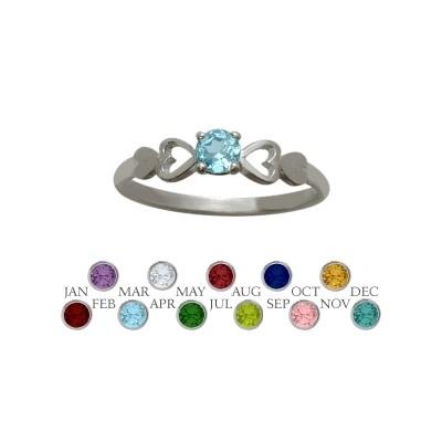 Genuine Sterling Silver Genuine Blue Topaz  Round Shape Baby Ring