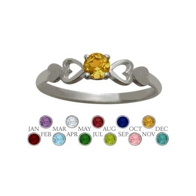 Genuine Sterling Silver Genuine Citrine  Round Shape Baby Ring