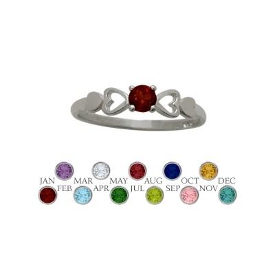 Genuine Sterling Silver Genuine Garnet  Round Shape Baby Ring