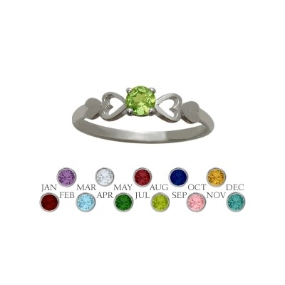 Genuine Sterling Silver Genuine Peridot  Round Shape Baby Ring