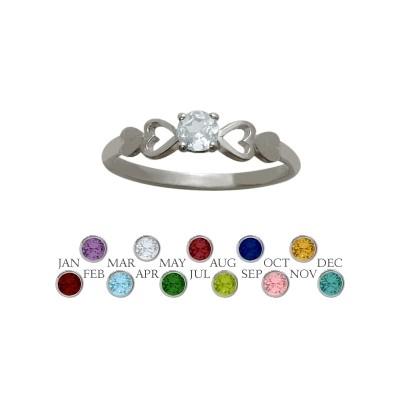 Genuine Sterling Silver Genuine White Topaz  Round Shape Baby Ring