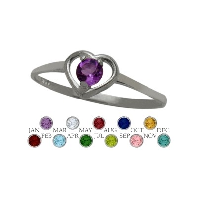 Genuine Sterling Silver Genuine Amethyst Solitaire Gem Round Shape Baby Ring