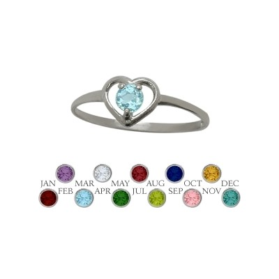 Genuine Sterling Silver Genuine Blue Topaz Solitaire Gem Round Shape Baby Ring
